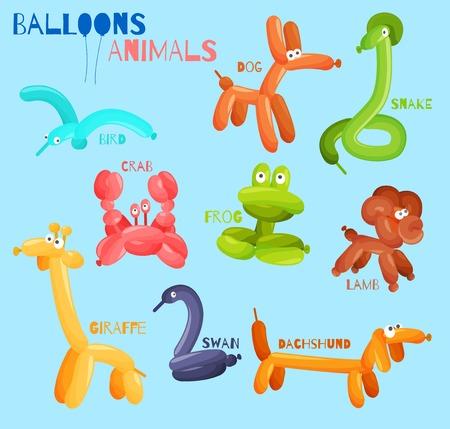 red balloon: Balloon animals set with dog crab snake bird isolated vector illustration Illustration