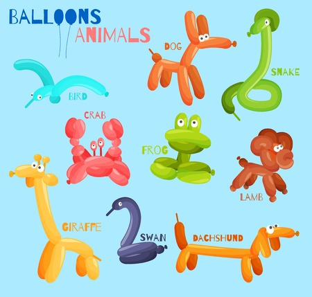 Balloon animals set with dog crab snake bird isolated vector illustration Illustration
