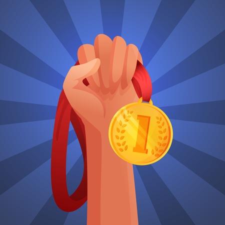 commendation: Hand holding winner victory golden medal commendation champion trophy vector illustration