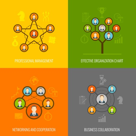 organization design: Connected people social network human hierarchy and communication concept flat icons set isolated vector illustration Illustration