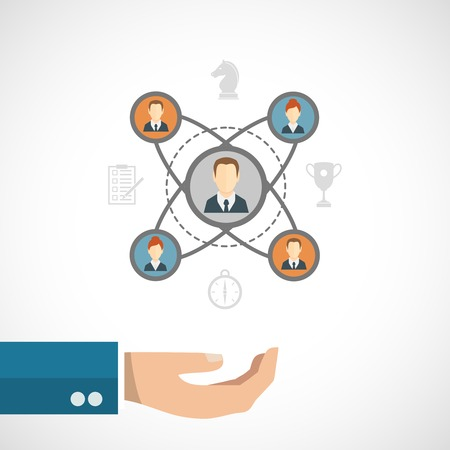people connected: Connected people concept with businessman hand and social network elements set vector illustration