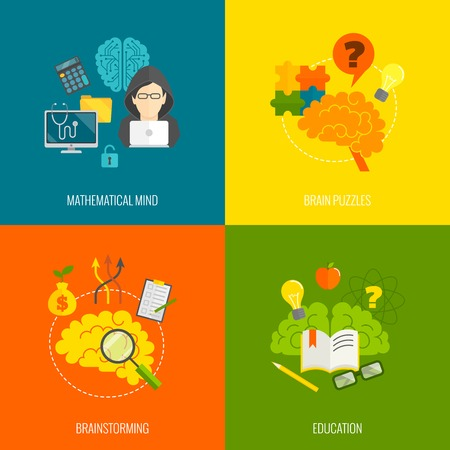 Brain icons flat set with mathematical mind puzzle brainstorming education isolated vector illustration Vetores