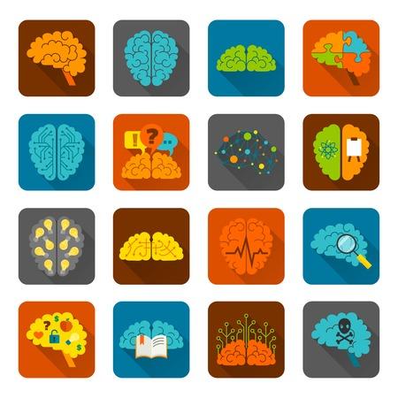 Brain thinking strategy brainstorming intelligence and creativity icons flat set isolated vector illustration