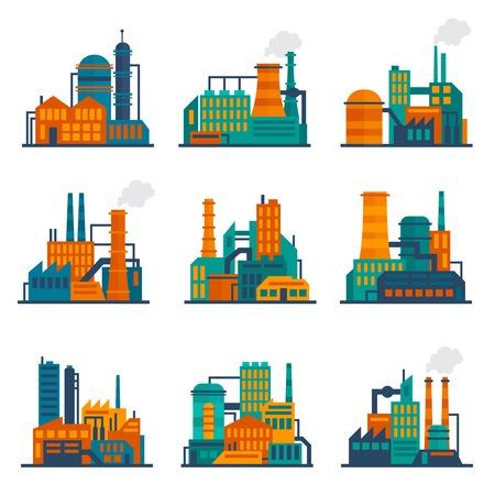 industriales: Construcci�n construcci�n f�bricas y plantas de los iconos planos de la ciudad industrial conjunto aislado ilustraci�n vectorial