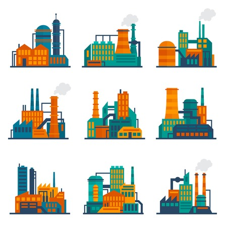 Industrial city construction building factories and plants flat icons set isolated vector illustration