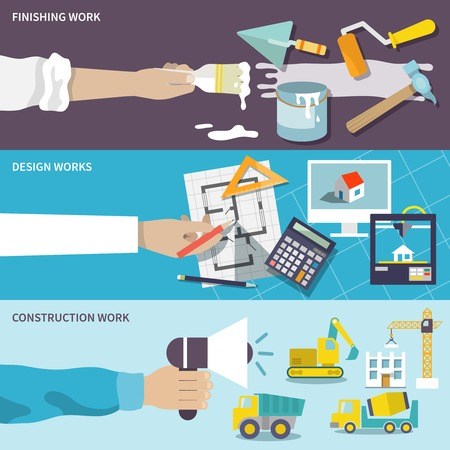 건축 디자인은 작업 평면 배너 인간의 손에 고립 된 벡터 일러스트와 함께 세트를 마무리