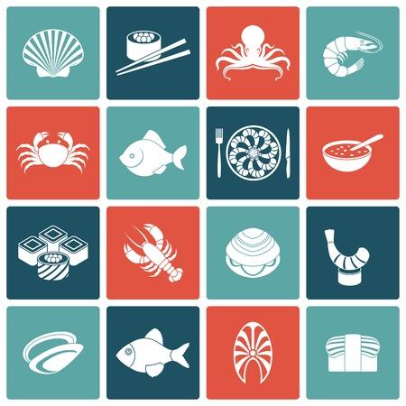 mariscos: Mariscos restaurante men� de pescado iconos conjunto plana con gambas aislado almeja rollos cangrejos ilustraci�n vectorial Vectores