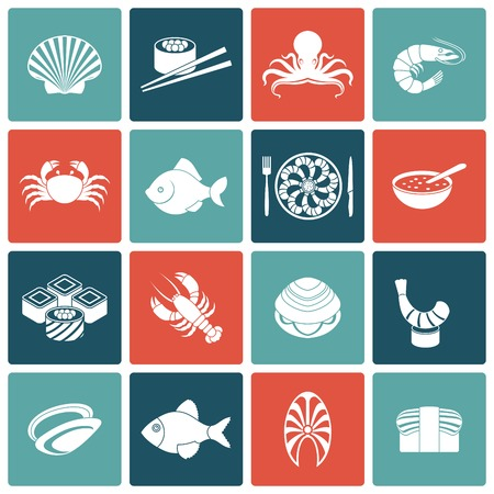 prawn: Seafood fish menu restaurant icons set flat with rolls crawfish clam prawn isolated vector illustration