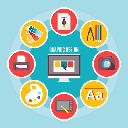 グラフィック デジタル図面創造スケッチ デザイン コンセプトのアイコン セット分離ベクトル イラスト