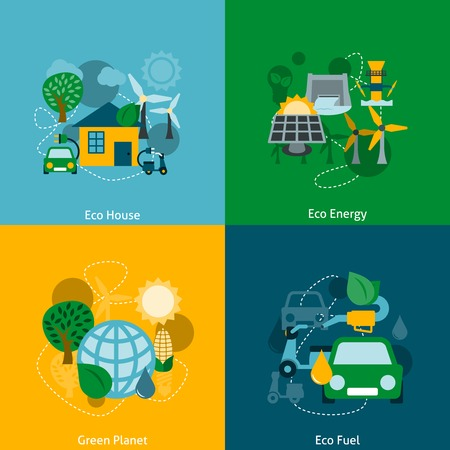 Save planet ecosystem green ecological energy technology house power fuel four flat icons composition abstract vector illustration Vector