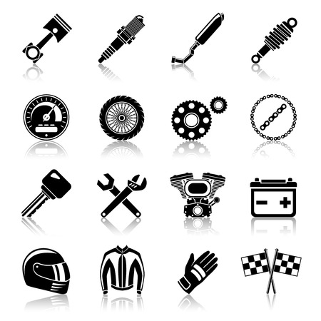 motorcycle helmet: Motorcycle parts black icon set with helmet spanner tires isolated vector illustration