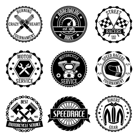 part: Motorcycle racing tournament motor service emblems black set isolated vector illustration