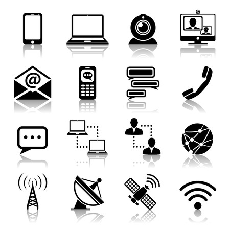 Communication media and network broadcasting icons black set isolated vector illustration Çizim