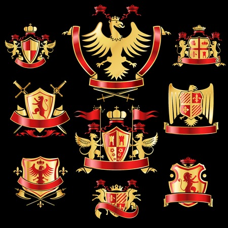 Heraldic coat of arms decorative labels gold and red set with royal crowns and animals isolated vector illustration Illustration