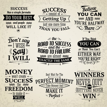Success motivational and inspirational creative quotes emblems set isolated vector illustration