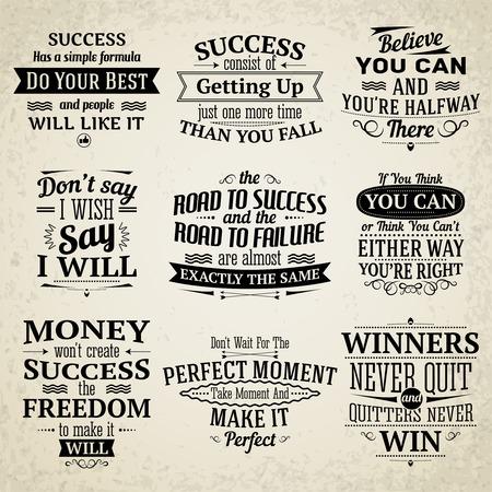 Succes motiverende en inspirerende creatieve citaten emblemen set geïsoleerd vector illustratie Stockfoto - 33844367