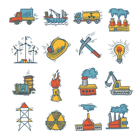 mining ship: Industrial decorative colored sketch icon set with power plant and factories isolated vector illustration