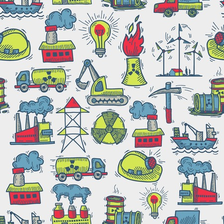 industrial decor: Industrial colored sketch seamless pattern with windmill power plant petrol truck vector illustration