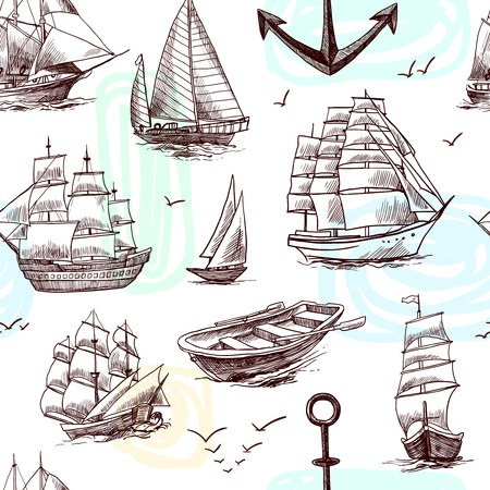 navy ship: Sailing tall ships frigates brigantine clipper yachts and boat sketch seamless pattern vector illustration