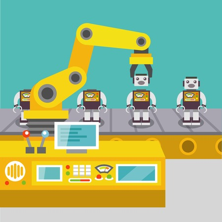 Robotic arm assemble line mechanic manufacturing factory robot operator production concept flat vector illustration Çizim