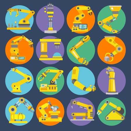 web robot: Robotic arm remote control device machine equipment flat icons set isolated vector illustration