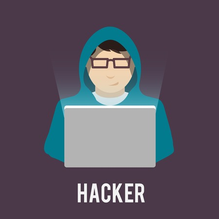 Hacker icon man in hoody with laptop flat isolated on dark background vector illustration Illustration