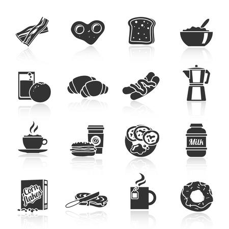Ontbijt vers eten en drinken zwarte pictogrammen die met granen worstjes vlokken en sandwich geïsoleerd vector illustratie