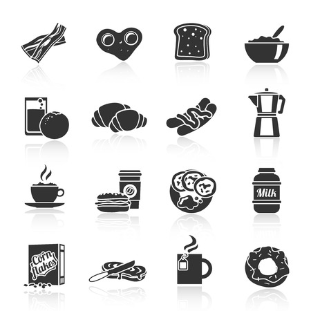 Breakfast fresh food and drinks black icons set with cereals sausages flakes and sandwich  isolated vector illustration