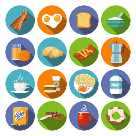 Breakfast fresh food and drinks flat icons set with coffee donut fruit juice tea cup isolated vector illustration