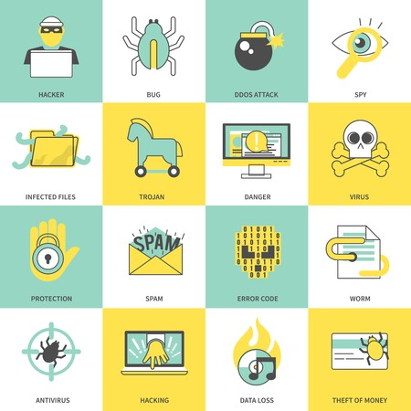 infected: Hacker flat line icons set with bug ddos attack spy infected files isolated vector illustration