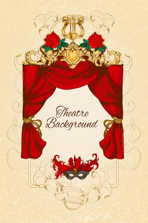 theatre: Theatre acting performance colored sketch decorative background with roses and decoration vector illustration