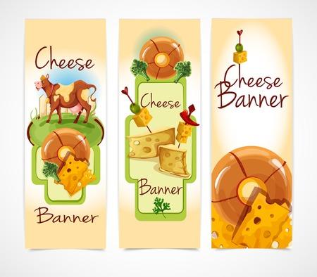 brie: Natuurlijke kaas food assortiment gekleurde decoratieve verticale banners te stellen geïsoleerde vector illustratie Stock Illustratie