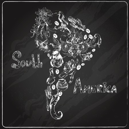 South america chalkboard  hand drawn concept with continent shape and travel symbols vector illustration Vector