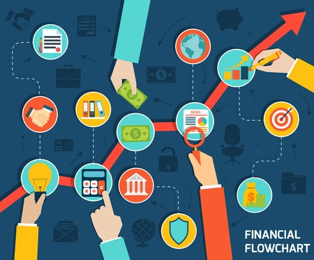 financial security: Business hands financial flowchart infographic with money growth elements vector illustration Illustration