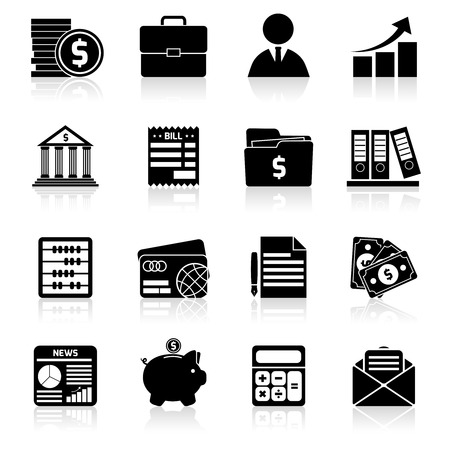 Accounting money exchange budget savings stock black icons set isolated vector illustration