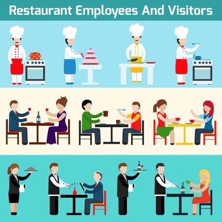 レストランのウェイターの従業員と訪問者フラット バナー設定分離ベクトル イラスト