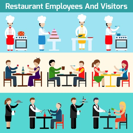 meseros: Camareros del restaurante empleados y visitantes bandera plana conjunto aislado ilustraci�n vectorial Vectores