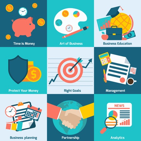 business partnership: Business concept flat icons set with time is money right goals management analytics isolated vector illustration