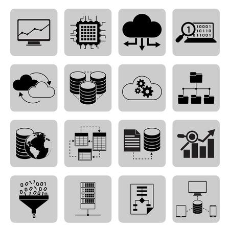 data analysis: Data analysis digital cloud file server icons black set isolated vector illustration