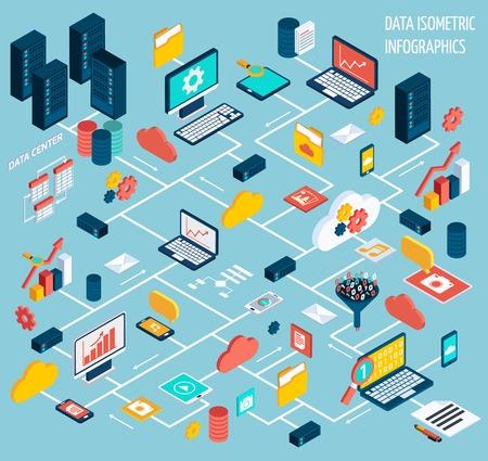 Dane infografika izometryczny zestaw z centrum przetwarzania danych i sieci ilustracji elementy wektorowe