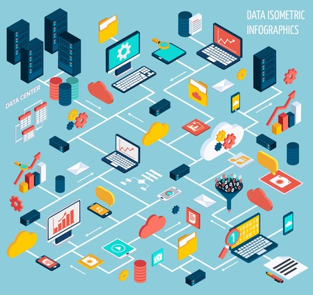 networks: Data infographic isometric set with data center and network elements vector illustration Illustration
