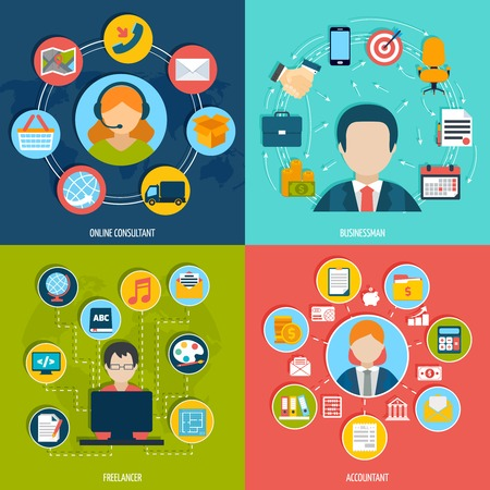 People professions flat icons set with online consultant businessman freelancer accountant isolated vector illustration Иллюстрация