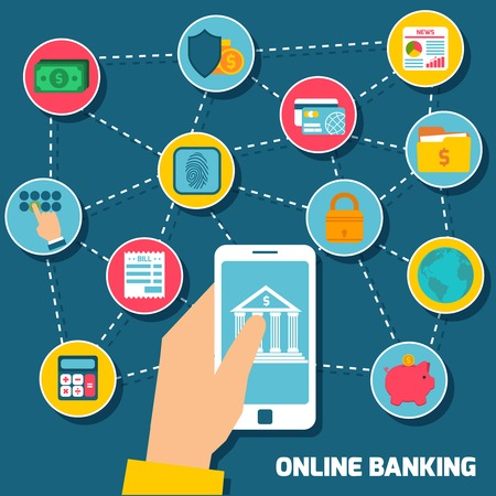 Online banking concept with hand holding smartphone with mobile payment elements vector illustration