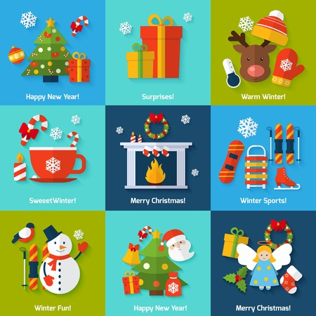 fireplace: Winter and christmas concept set with happy new year surprise sports and fun elements isolated vector illustration Illustration