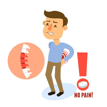 back to back: Sick back pain male person character with pill vector illustration