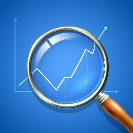 Magnifier and chart analysing business finance diagnostics data search concept vector illustration Illustration