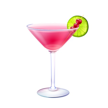Cosmopolitan realistic cocktail in glass with lime slice and cranberry stick isolated on white background vector illustration