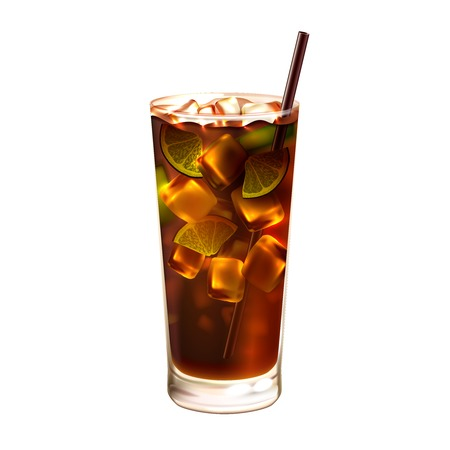 ice tea: Long island ice tea realistic cocktail in glass with drinking straw isolated on white background vector illustration Illustration