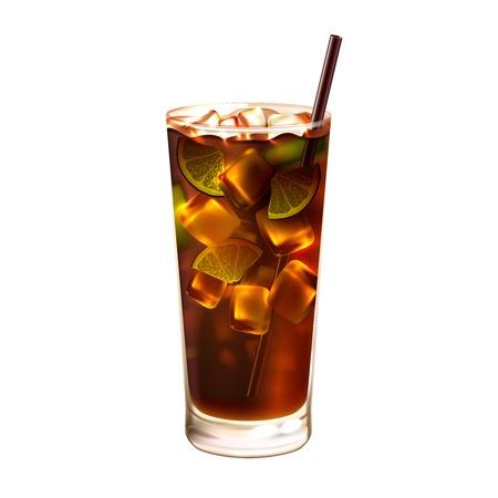 Long island ice tea realistische cocktail in glas met het drinken stro geïsoleerd op witte achtergrond vector illustratie Stock Illustratie