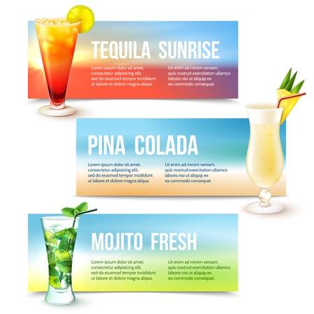 pina colada: Tequila sunrise pina colada mojito fresh cocktails horizontal banner set isolated vector illustration